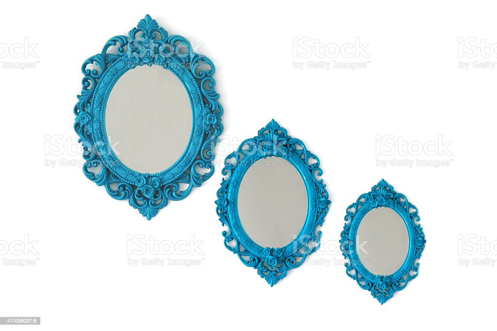 Ornate Picture Mirror (Isolated) stock photo