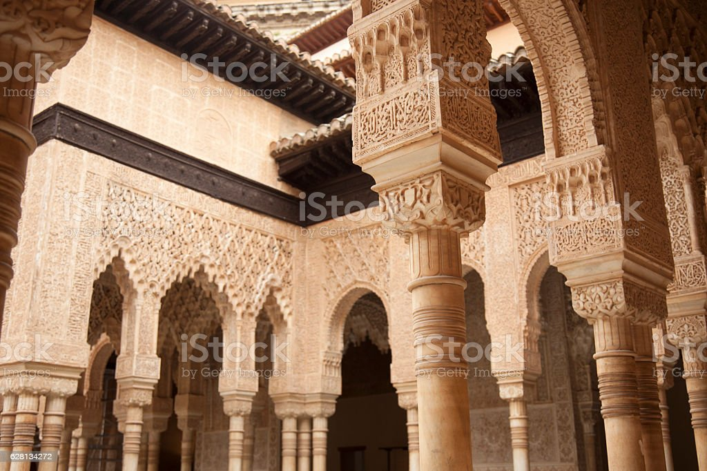 Ornate pillars in Alhambra, Granada, Spain stock photo
