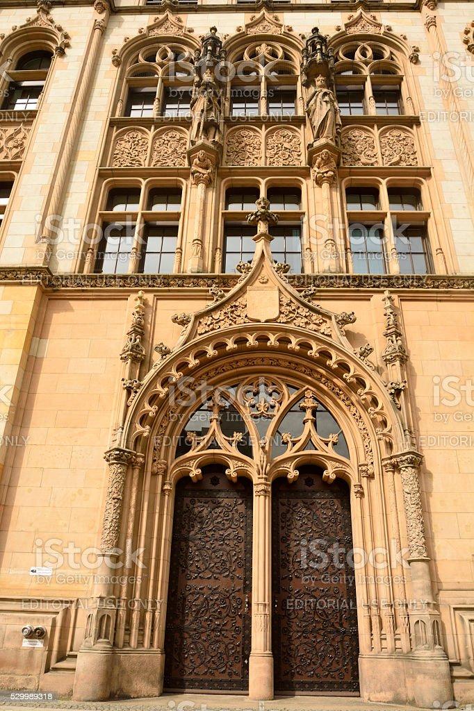 Ornate portal door of Amtsgericht Magdeburg in Magdeburg stock photo