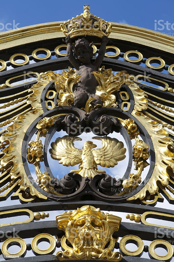 Ornate Royal Gold Detail on Gate St James Park London stock photo