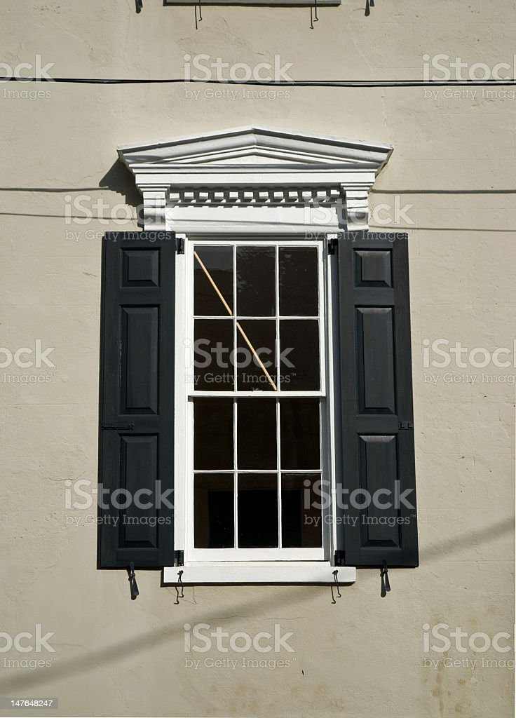 Ornate Shuttered Window in Charleston, SC royalty-free stock photo