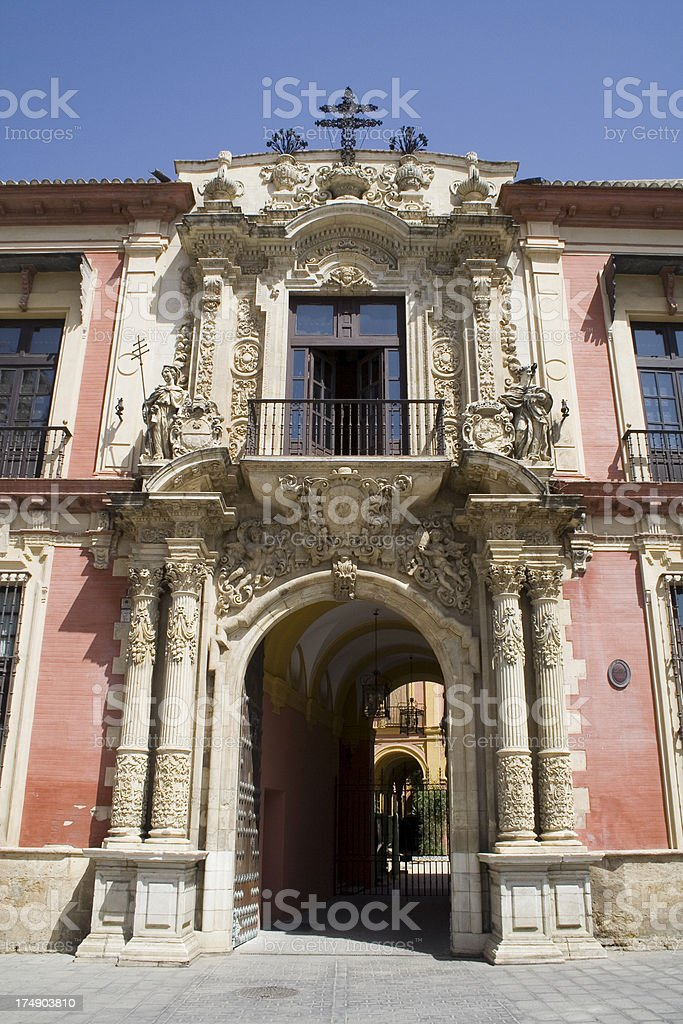 Ornate spanish baroque archway entrance in Seville stock photo
