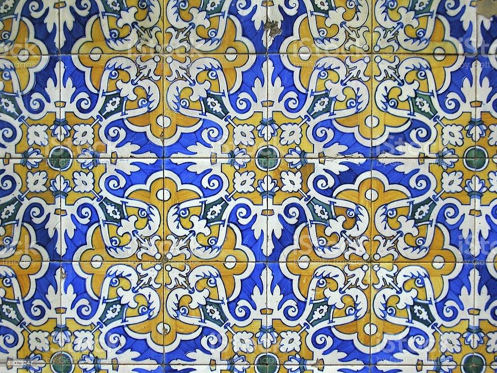 Ornate Tiles, Barcelona, Spain. stock photo