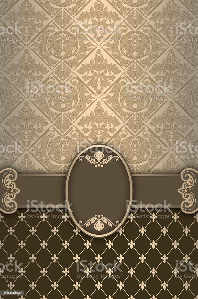 Ornate vintage background with decorative border. stock photo