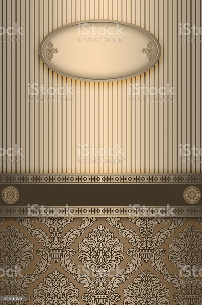 Ornate vintage background with frame and patterns. stock photo