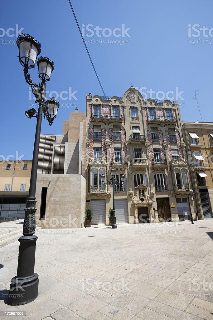 Ornate Vintage Building in Valencia stock photo