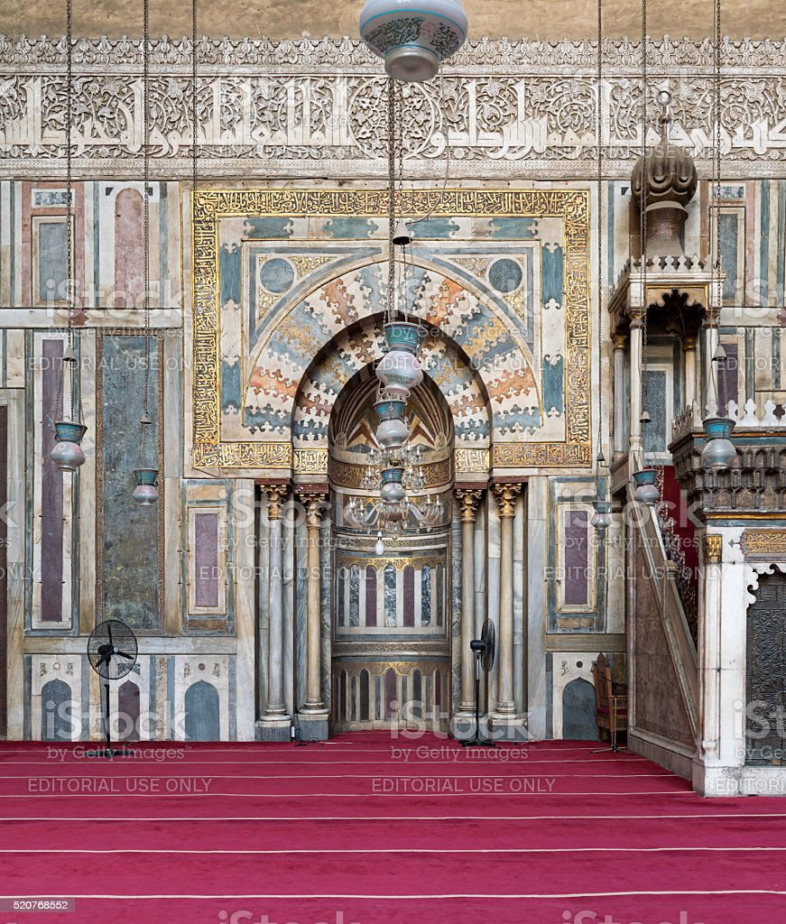 Ornate wall with sculpted niche, Mosque of Sultan Hassan, Egypt stock photo