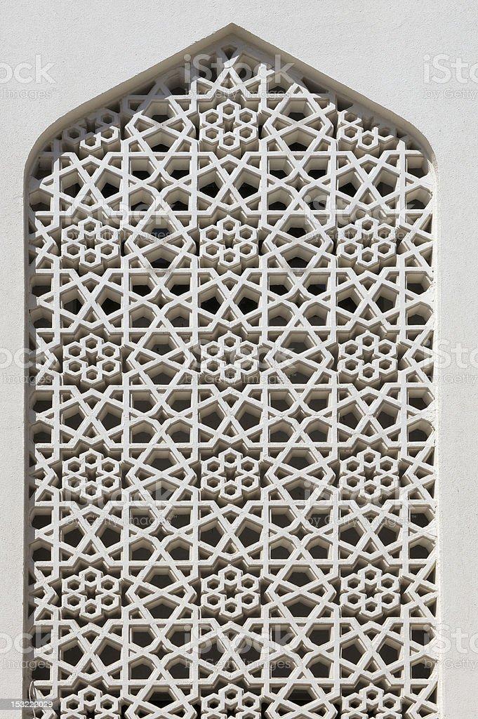 Ornate window of mosque in Bastakia in old Bur Dubai stock photo