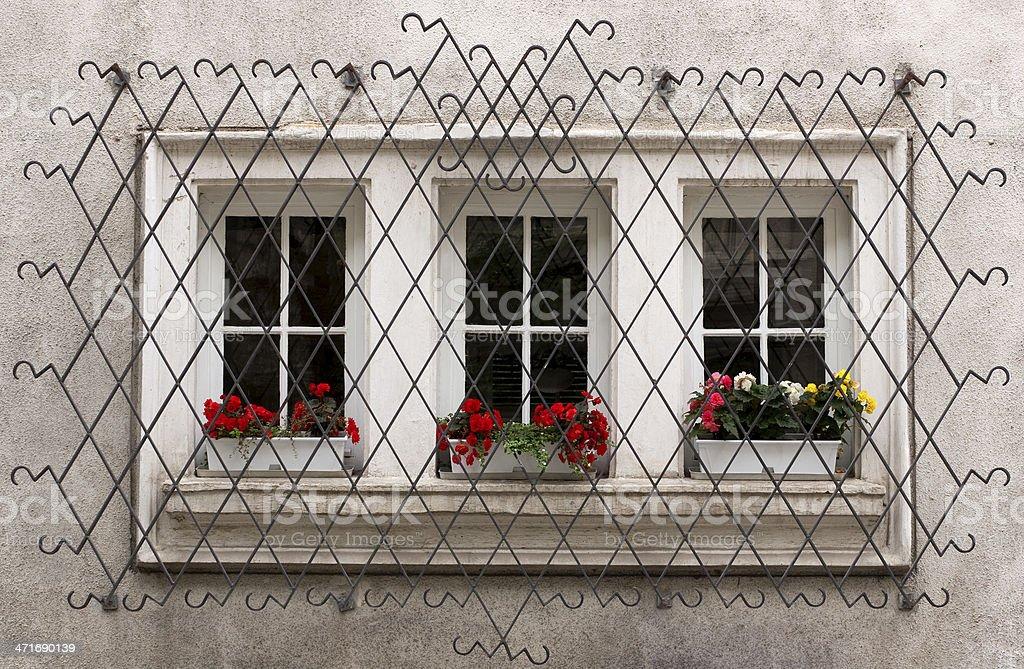 Ornate Window Security Bars stock photo