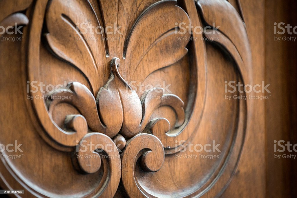 Ornate wood door stock photo