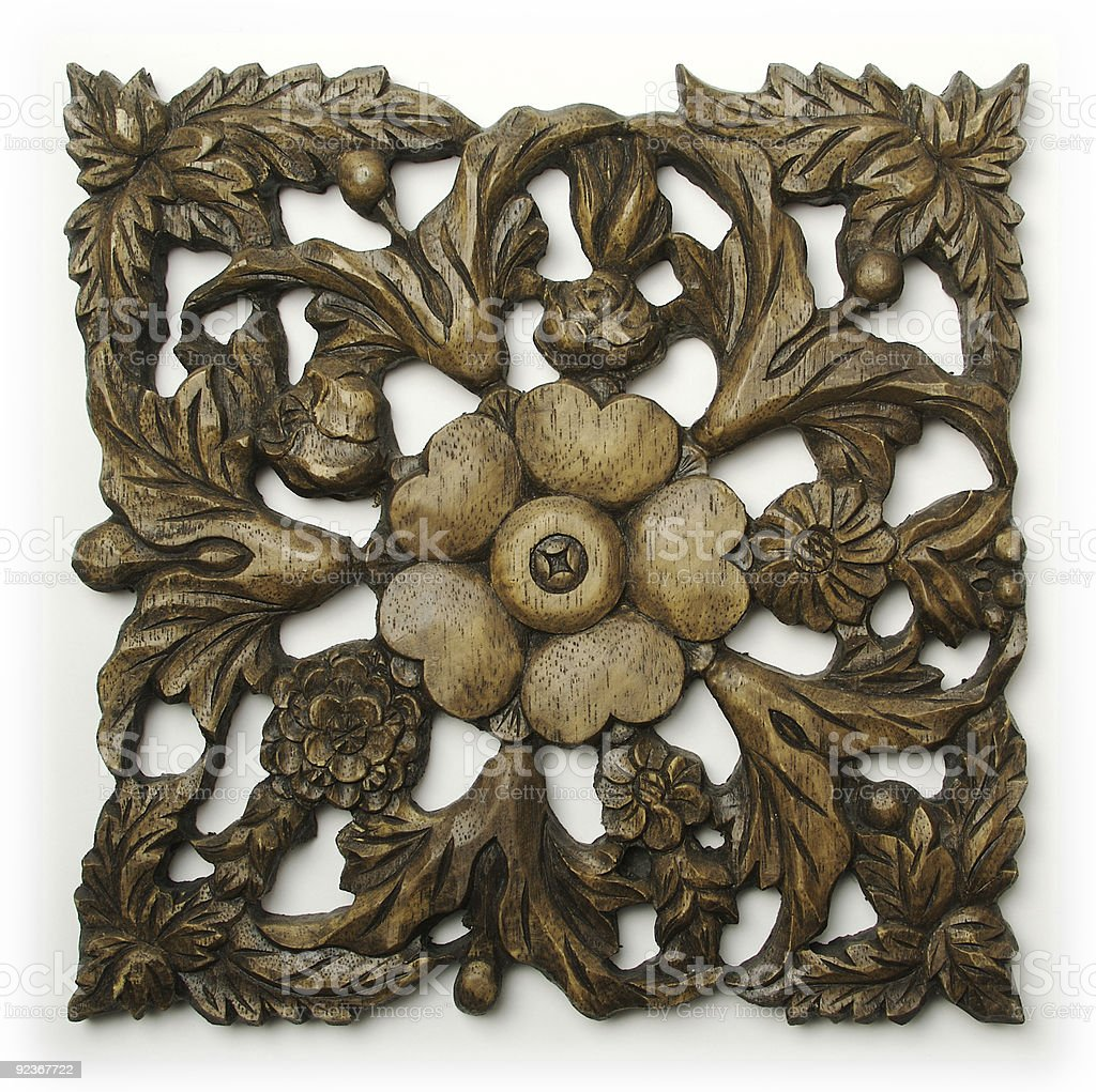 Ornate Wood Ornament stock photo