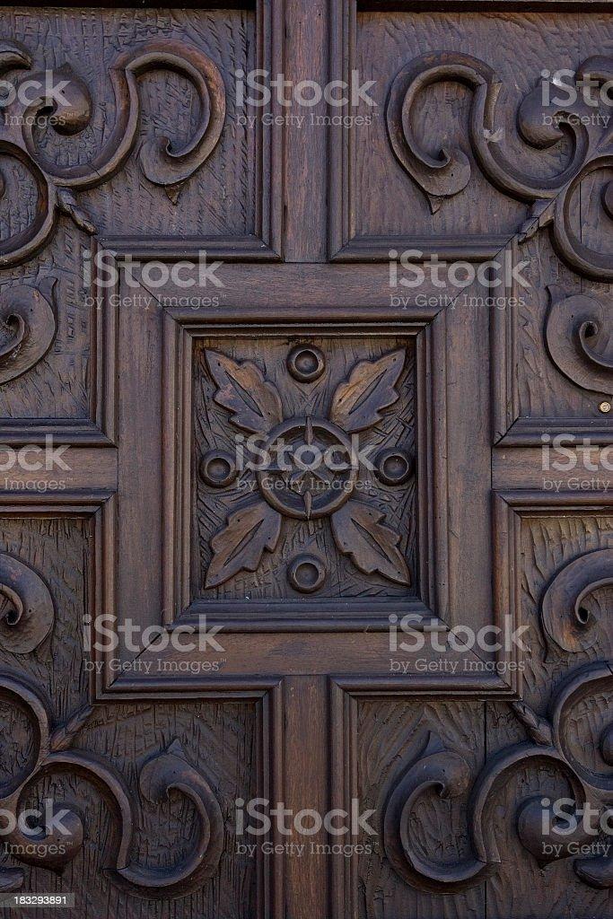 Ornate Wooden Door stock photo