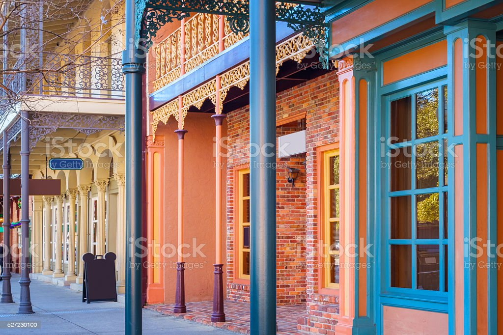 Ornate Wrought Iron Balconies in Downtown Pensacola Florida stock photo