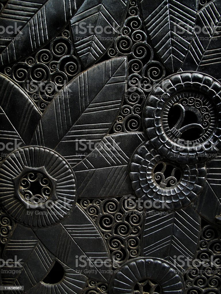 Ornately carved door royalty-free stock photo