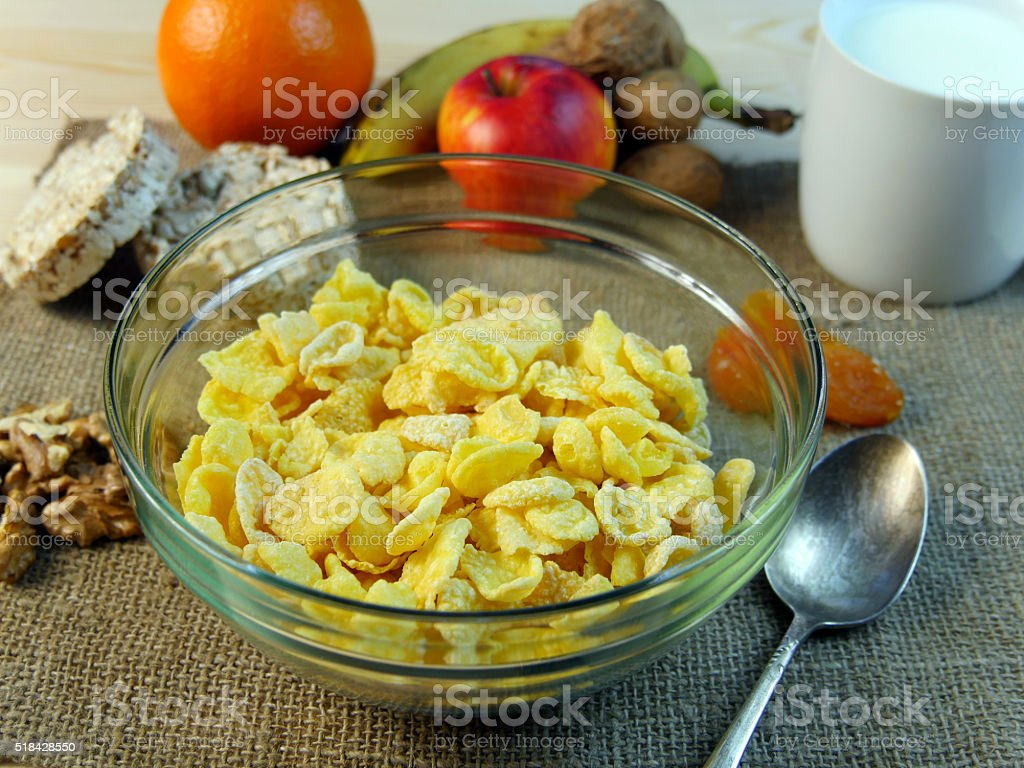 Сorn-Copos de desayuno saludable foto de stock libre de derechos