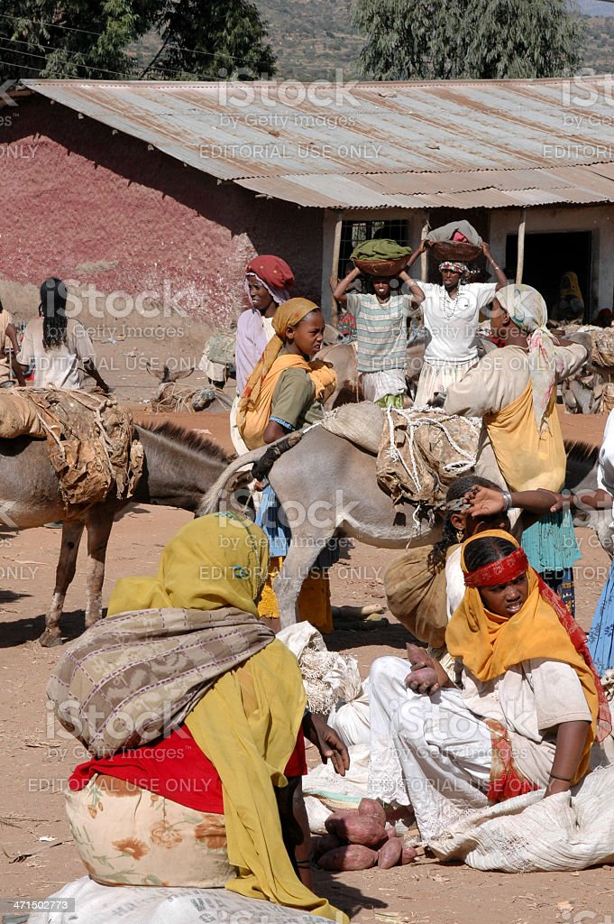 Oromo women at market in Harar, Ethiopia stock photo