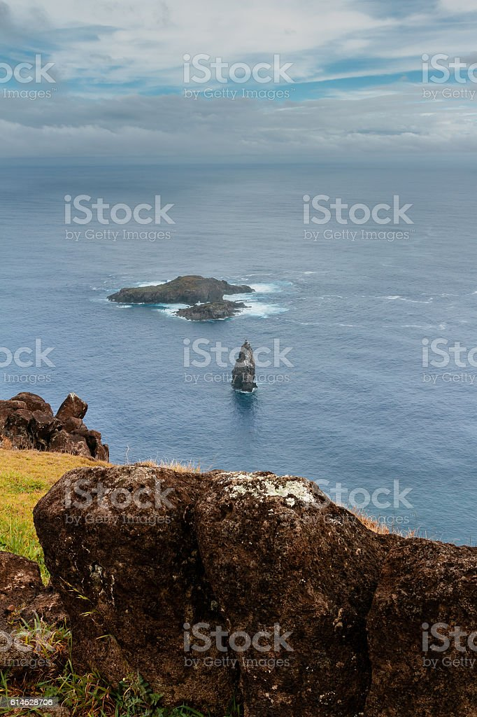 Orongo ruins at Easter Island stock photo