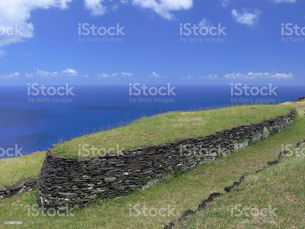 Orongo ruins stock photo