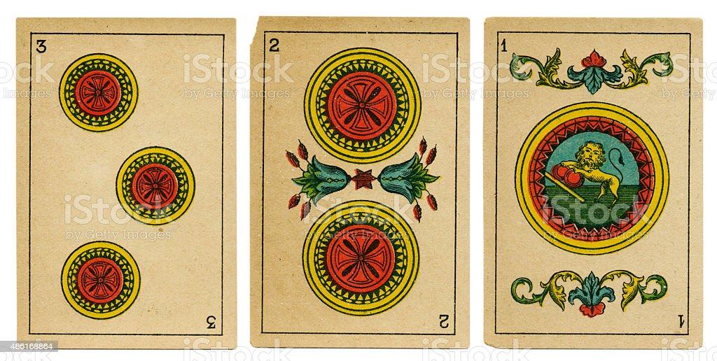 Oros one two three Spanish playing card baraja 19th century stock photo