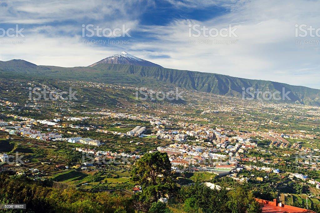 Orotava valley and volcano Teide (Tenerife) stock photo