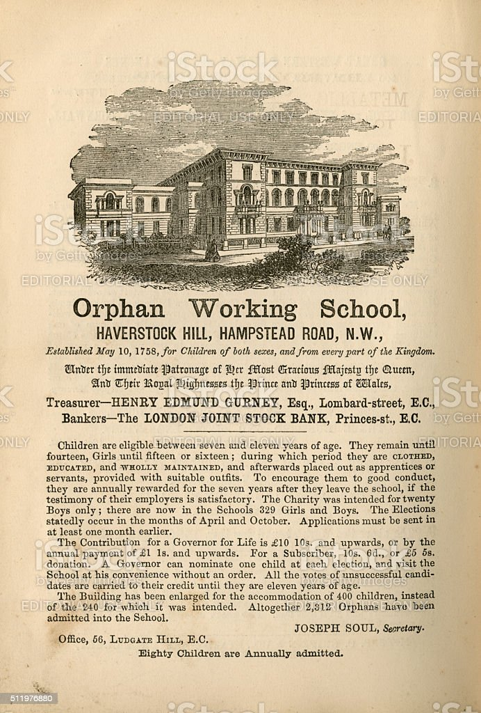Orphan Working School, Hampstead - advertisement, 1865 stock photo