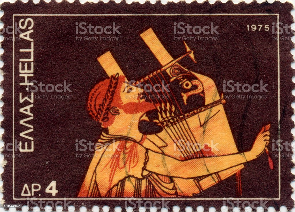 Orpheus, Greek Musician Stamp stock photo