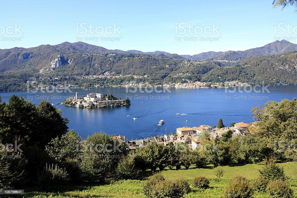 Orta San Giulio island and lake  -  stock photo