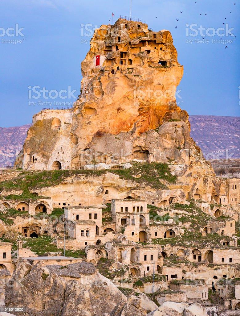 Ortahisar Castle in Cappadocia, Turkey stock photo