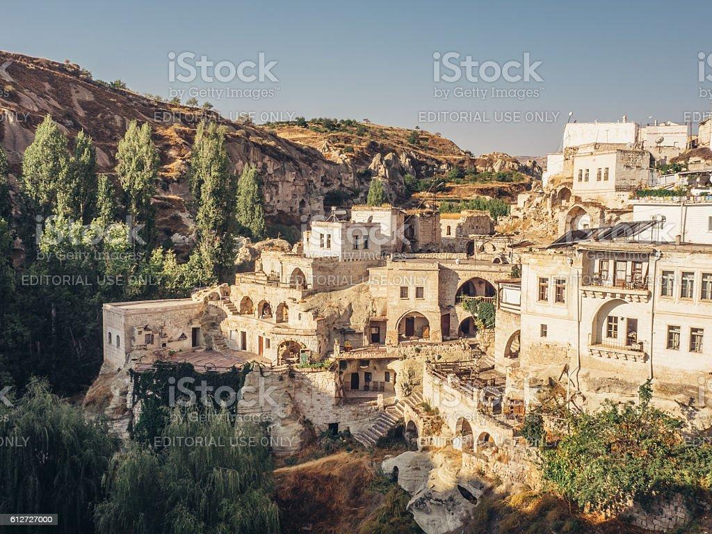 Ortahisar town in Cappadocia Turkey. stock photo