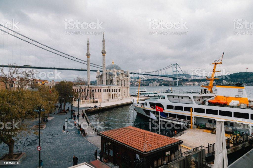 Ortakoy Mosque and Bosphorus stock photo
