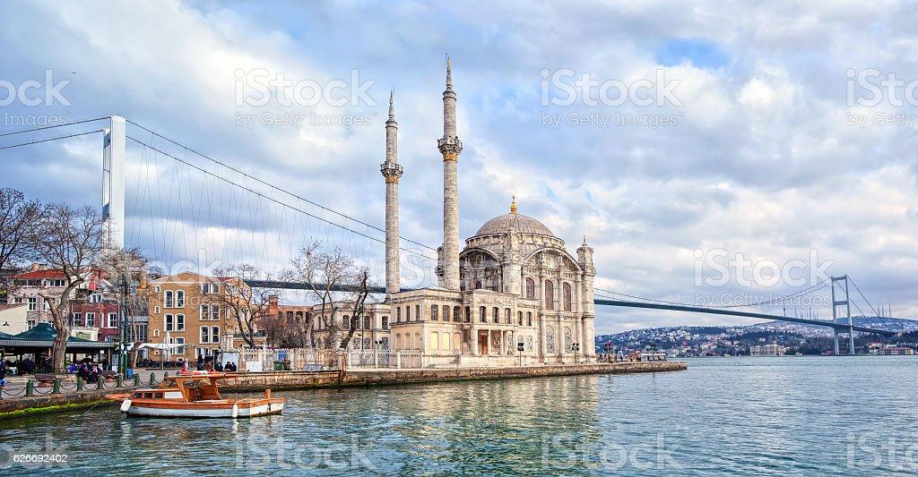 Ortakoy mosque and Bosporus bridge, Istanbul, Turkey stock photo
