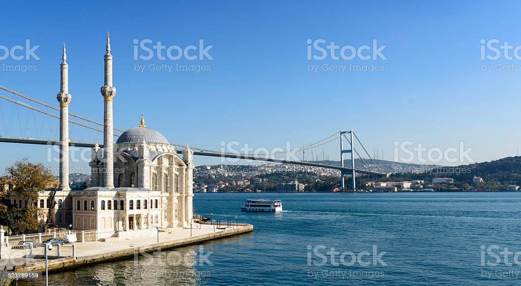 Ortakoy Mosque in Istanbul Turkey stock photo