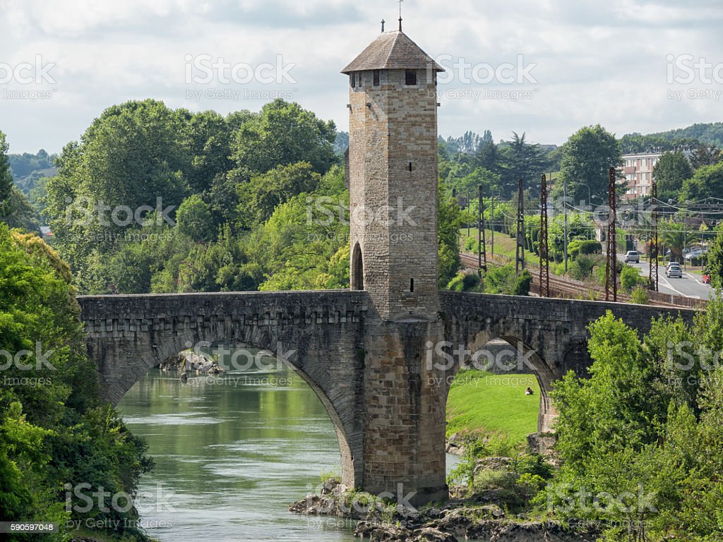Orthez old bridge in the pyrenees stock photo