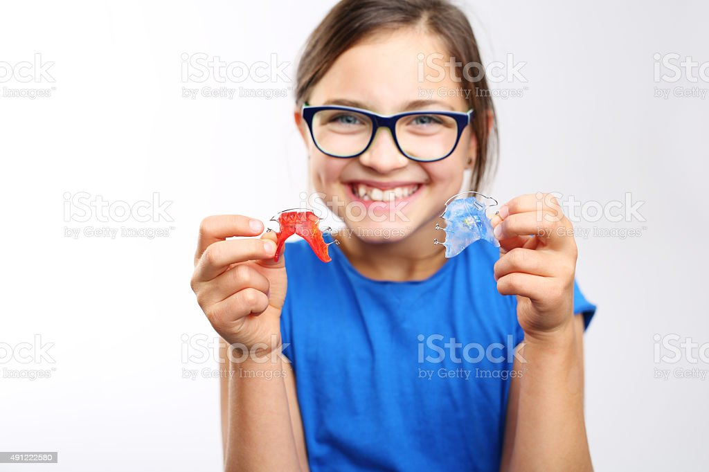 Orthodontics, beautiful smile. stock photo