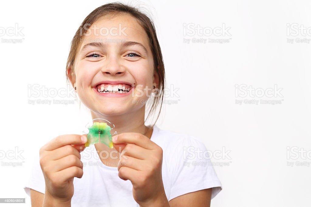 Orthodontics, beautiful smile. stock photo