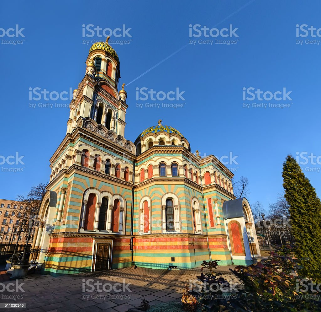 Orthodox Alexander Nevsky Cathedral in Lodz, in mid afternoon stock photo