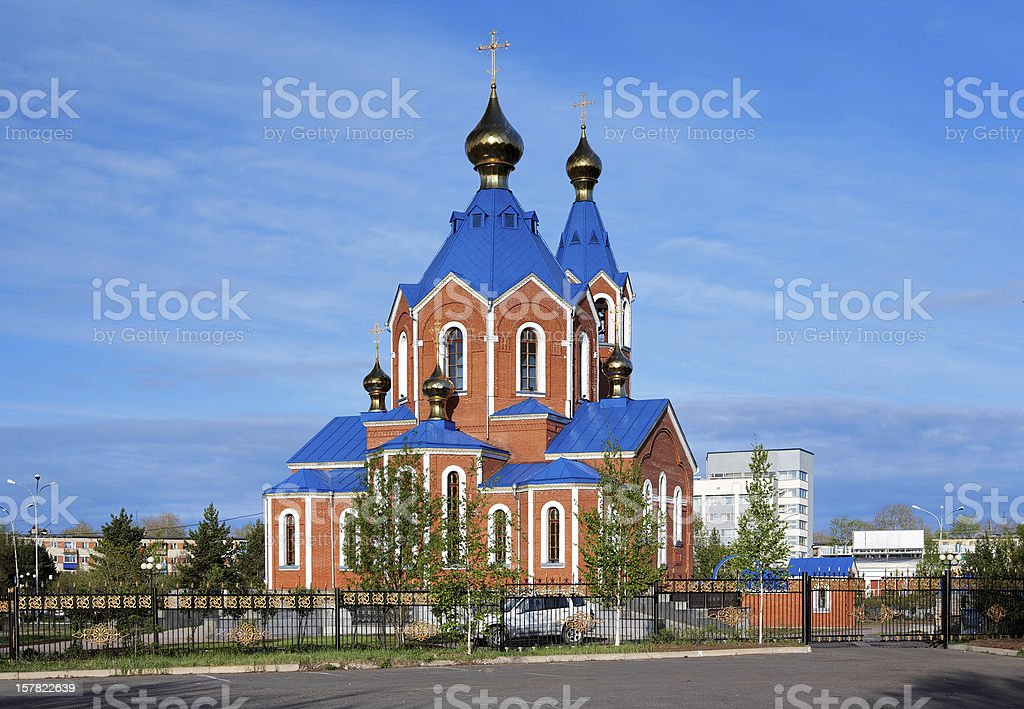 Orthodox Cathedral in Komsomolsk-on-Amur, Russia stock photo