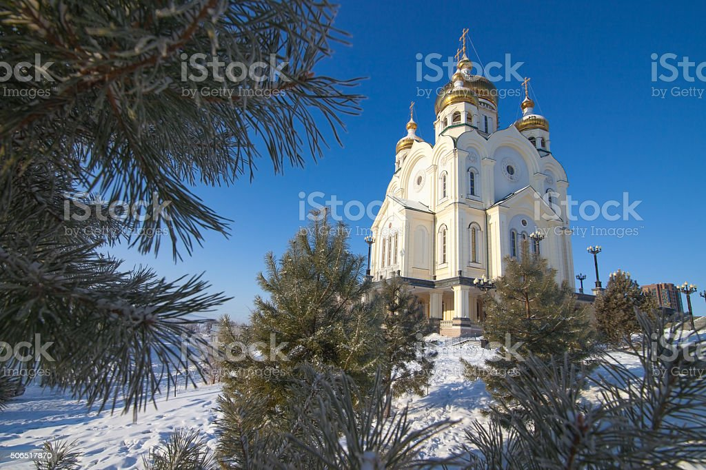 Orthodox cathedral in winter stock photo
