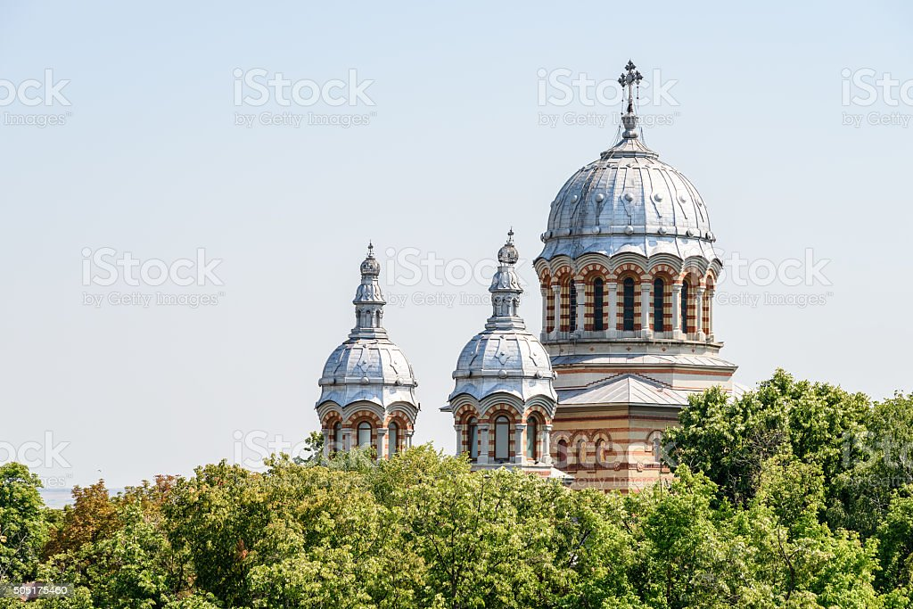 Orthodox Cathedral Saint George In Downtown Tecuci City Of Romania stock photo