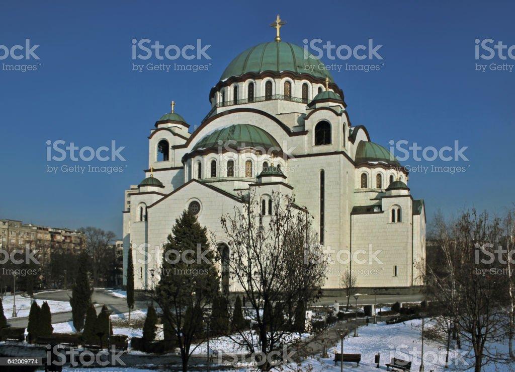 Orthodox Cathedral Saint Sava in Belgrade stock photo