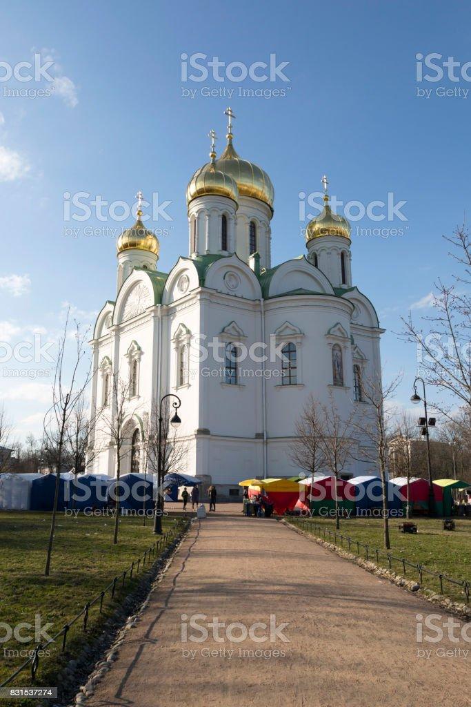 Orthodox Catherine's Cathedral in Pushkin town (Tsarskoye Selo) stock photo