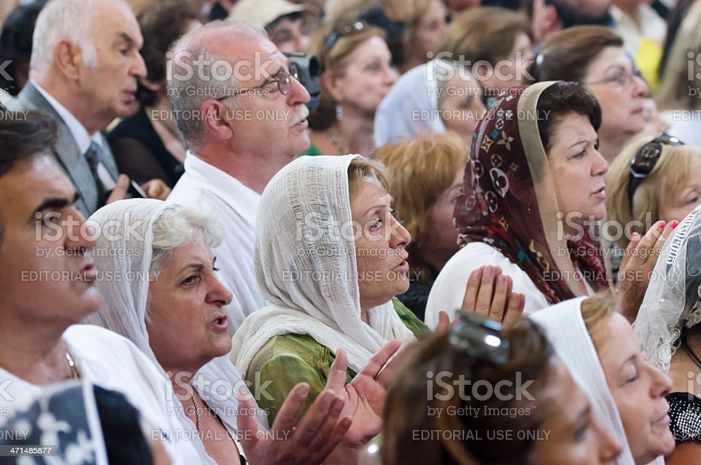 Orthodox Christian Armenians praying stock photo
