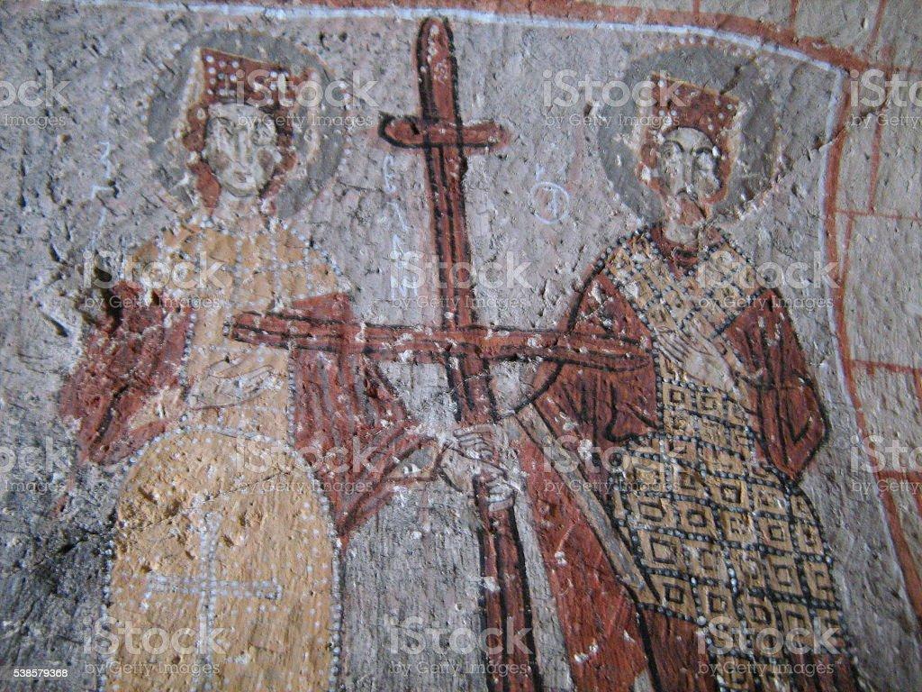Orthodox Christian Art in Cappadocia, Turkey stock photo