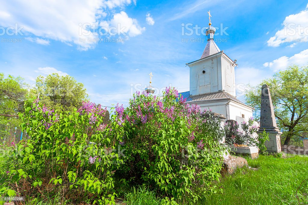 Orthodox Church and Lilac Blossom stock photo