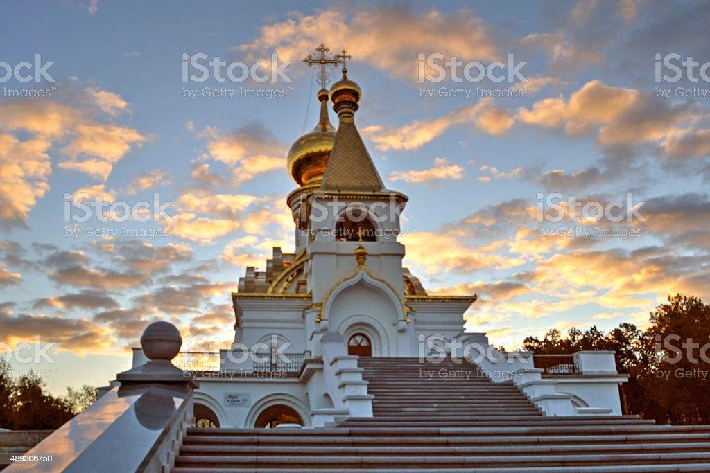 Orthodox Church at dawn stock photo