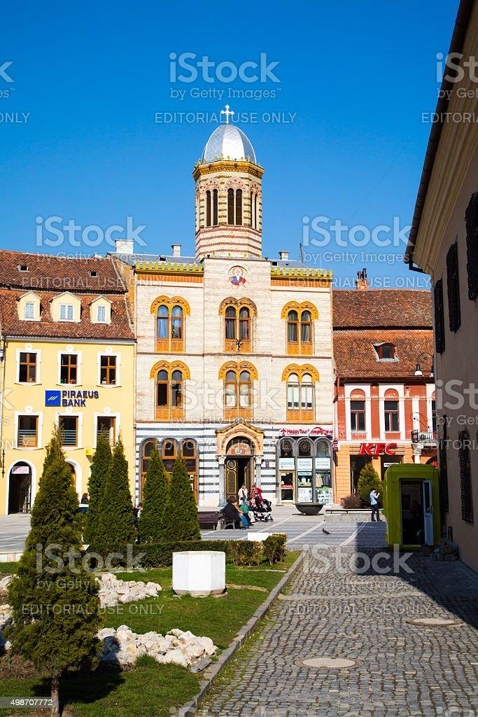 Orthodox Church at Piata Sfatului- the center of Brasov stock photo
