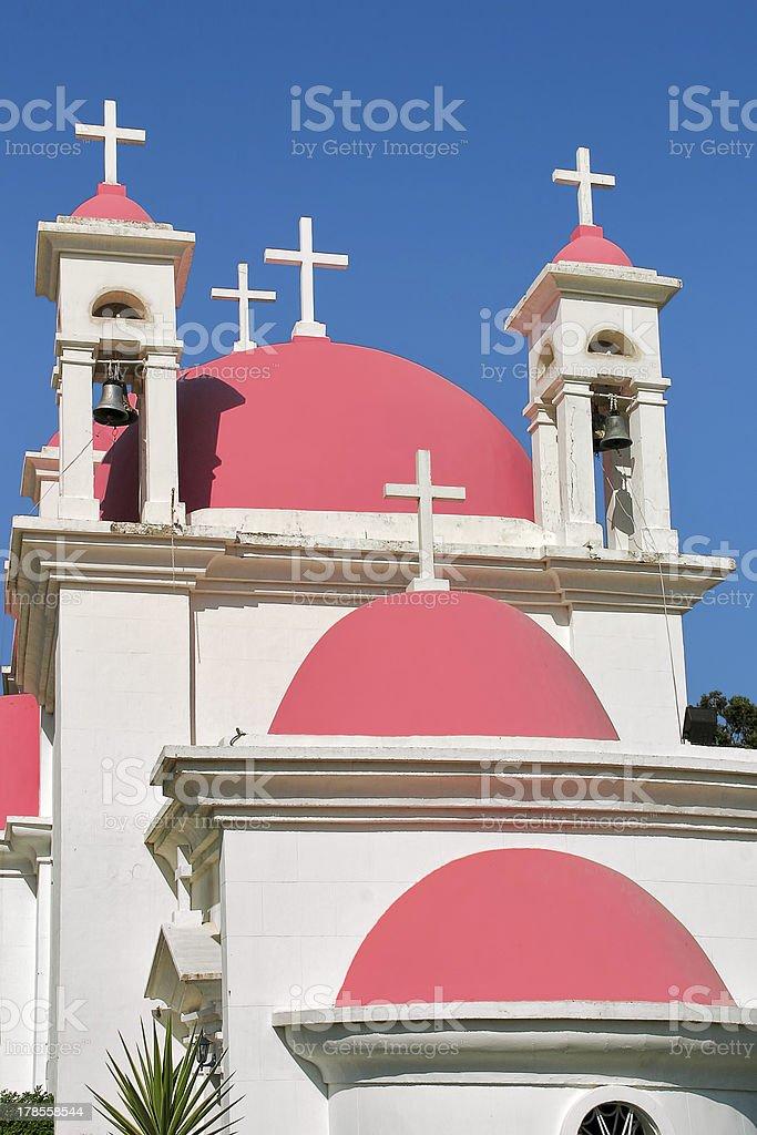 Orthodox church domes in Capernaum, Israel. royalty-free stock photo