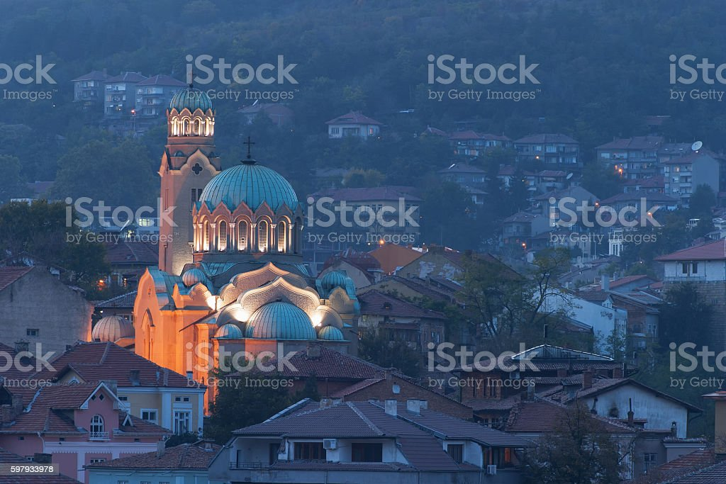 Orthodox church in Bulgarian town Veliko-Tarnovo at night stock photo