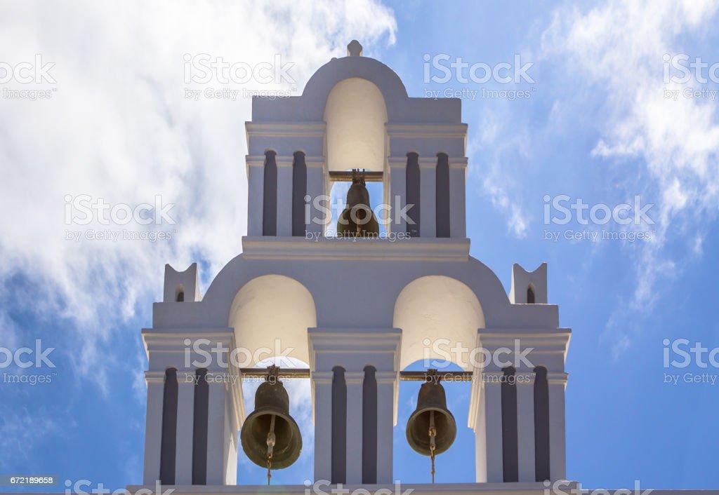 Orthodox Church in Santorini, Greece stock photo