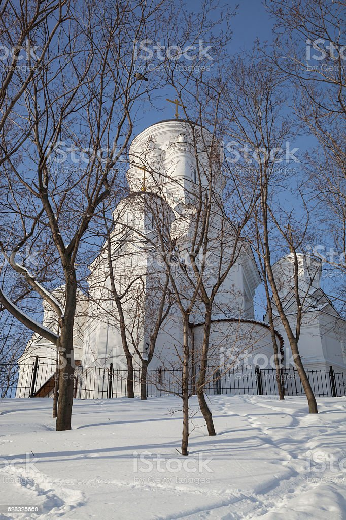 Orthodox church in winter park stock photo